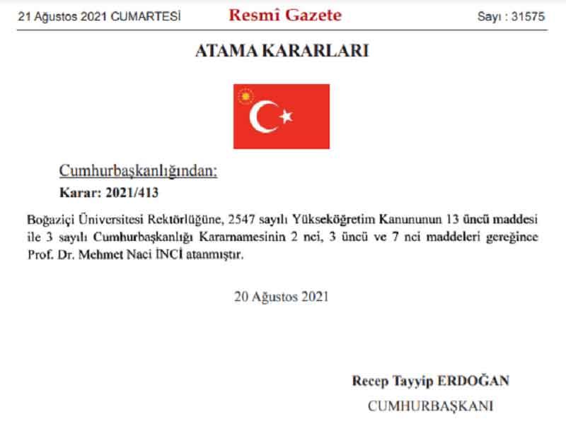 Boğaziçi Üniversitesi Rektörlüğüne Naci İnci atandı