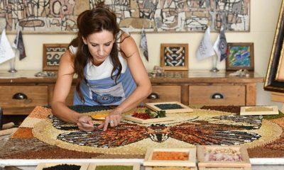 Gaziantep'in yöresel lezzetlerine mozaik sanatçısının eli değdi