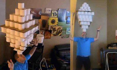 Kafasının üzerinde 101 tuvalet kağıdı rulosu taşıdı; Guinness Rekorlar Kitabı'na girdi