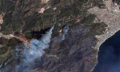 Manavgat ve Marmaris'teki orman yangınlarını uzaydan görüntüledi