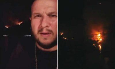 Şahan Gökbakar, yangını drone ile görüntüledi