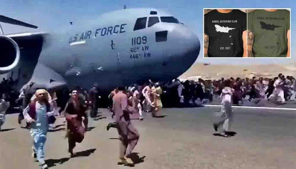 Taliban'dan kaçmaya çalışırken uçaktan düşerek hayatını kaybeden Afganları tişört baskısı yaptılar!