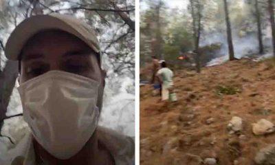 Ünlü oyuncu Alperen Duymaz yangın söndürme çalışmalarına katıldı