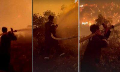 Oyuncu İbrahim Çelikkol yangın bölgesinde alevlere müdahale ediyor