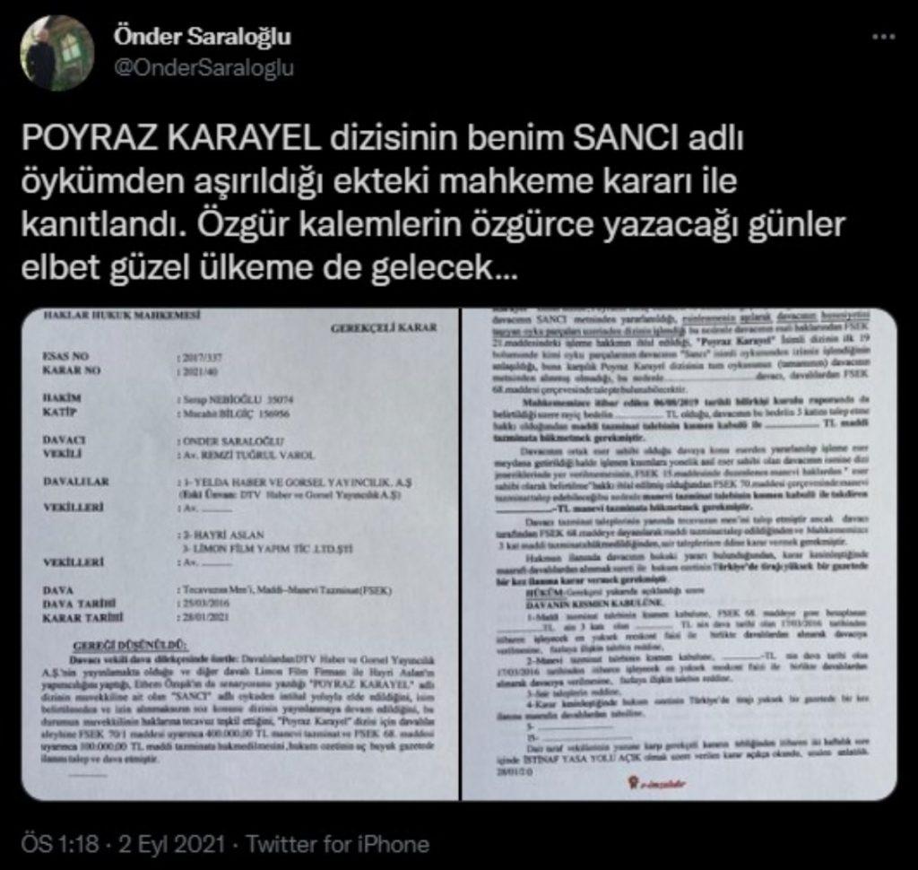 Poyraz Karayel dizisine 'intihal' kararı
