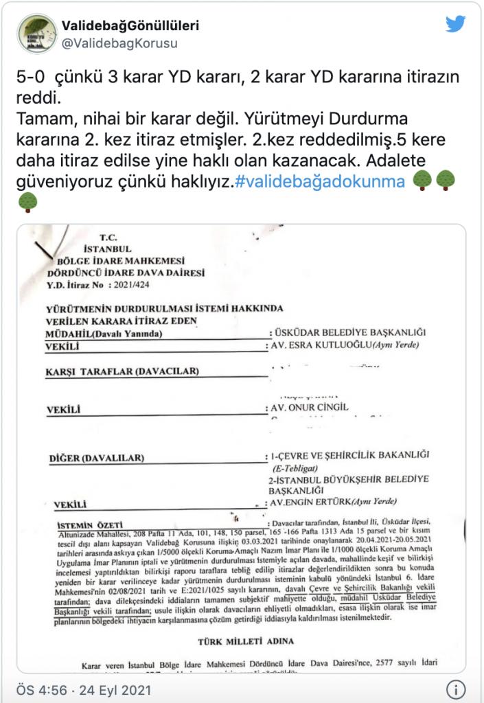 Üsküdar Belediyesi'nin Validebağ Korusu'yla ilgili başvurusuna itiraz reddedildi