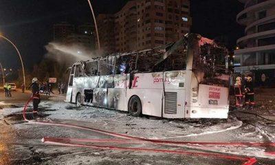 Ankara'da yolcu otobüsü yandı: 1 kişi öldü, 20 kişi yaralandı