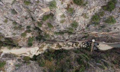 Büyük Menderes Nehri üzerindeki Kısık Kanyonunda sular çekildi