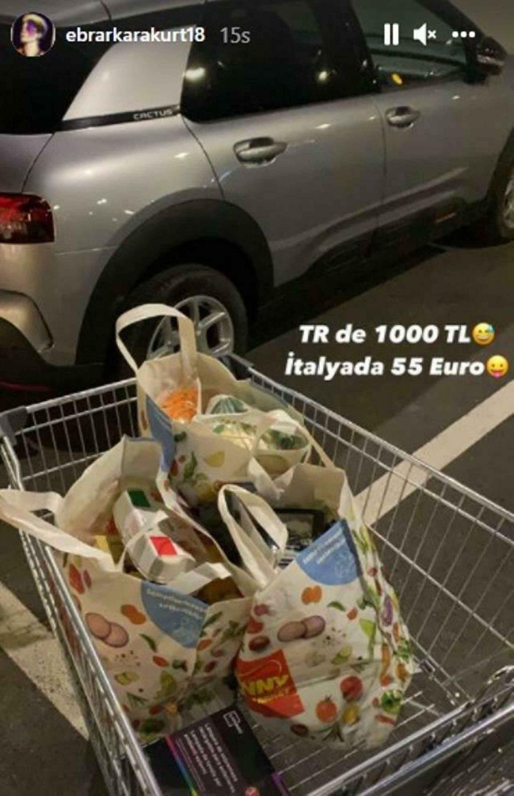Ebrar Karakurt İtalya'da market alışverişini paylaştı: 'TR'de 1.000 lira, İtalya'da 55 euro'