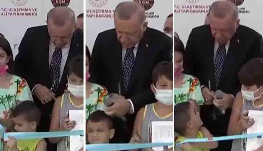 Erdoğan'ın kurdeleyi erken kesen çocuğa hareketi tepki çekti