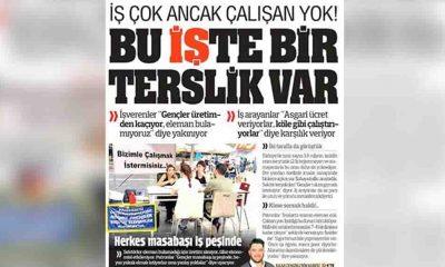 Yandaş Türkiye gazetesinin manşeti: 'İş çok ancak çalışan yok'