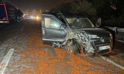 Yola dökülen salçalar nedeniyle kayan 18 araç çarpıştı, bir kişi öldü